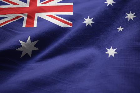 Closeup of Ruffled Australia Flag, Australia Flag Blowing in Wind