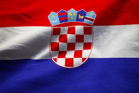Closeup of Ruffled Croatia Flag, Croatia Flag Blowing in Wind