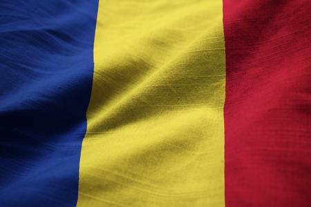 Closeup of Ruffled Romania Flag, Romania Flag Blowing in Wind Stock Photo