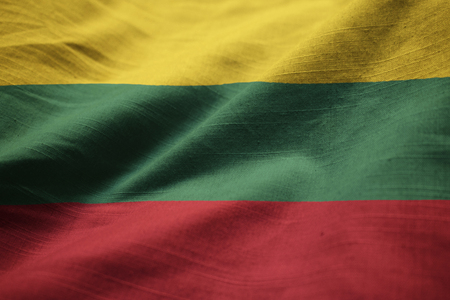 Closeup of Ruffled Lithuania Flag, Lithuania Flag Blowing in Wind