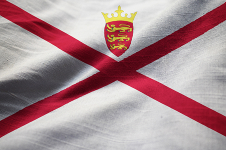 Closeup of Ruffled Jersey Flag, Jersey Flag Blowing in Wind Stock Photo