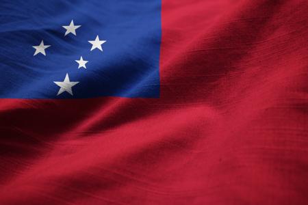Closeup of Ruffled Samoa Flag, Samoa Flag Blowing in Wind