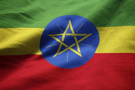 national flag ethiopia: Closeup of Ruffled Ethiopia Flag, Ethiopia Flag Blowing in Wind
