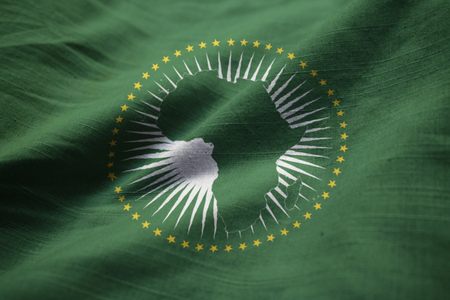 Closeup of Ruffled African Union Flag, African Union Flag Blowing in Wind Standard-Bild