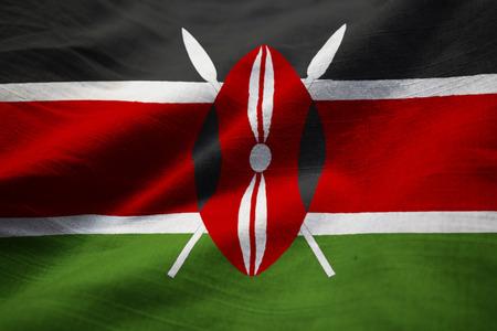 Closeup of Ruffled Kenya Flag, Kenya Flag Blowing in Wind
