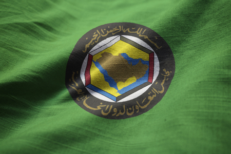 Closeup of Ruffled Gulf Cooperation Council Flag, GCC Flag Blowing in Wind Stock Photo