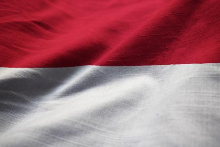 Closeup of Ruffled Indonesia Flag, Indonesia Flag Blowing in Wind Standard-Bild