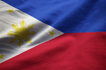 Closeup of Ruffled Philippines Flag, Philippines Flag Blowing in Wind Stock Photo