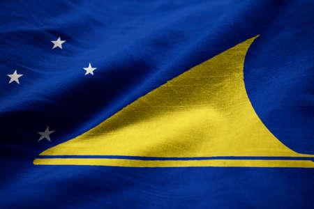 tokelau: Closeup of Ruffled Tokelau Flag, Tokelau Flag Blowing in Wind