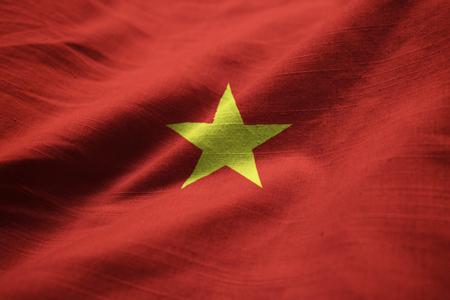 Closeup of Ruffled Vietnam Flag, Vietnam Flag Blowing in Wind Standard-Bild