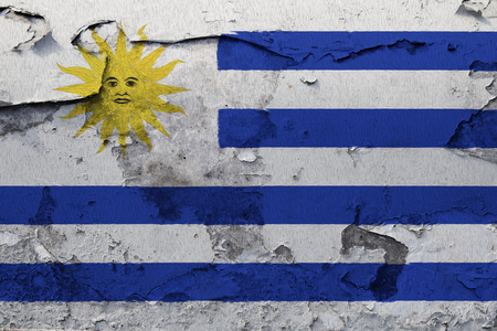 Painted national flag of Uruguay on a concrete wall