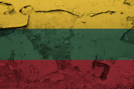 Painted national flag of Lithuania on a concrete wall
