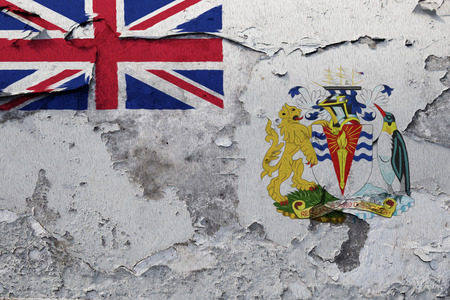 Painted national flag of British Antarctic Territory on a concrete wall