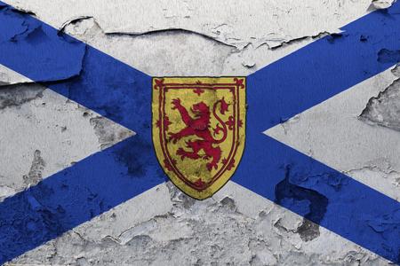 Painted national flag of Nova Scotia on a concrete wall