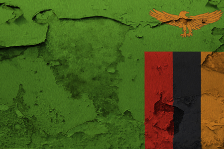 Painted national flag of Zambia on a concrete wall