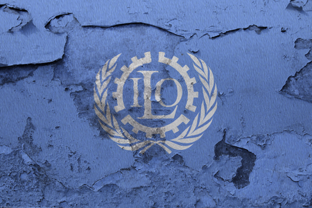 Painted flag of ILO on a concrete wall