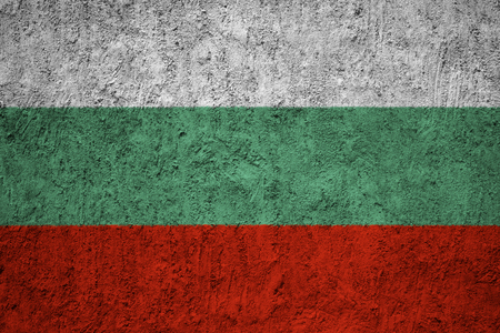 Bulgaria flag on the grunge concrete wall