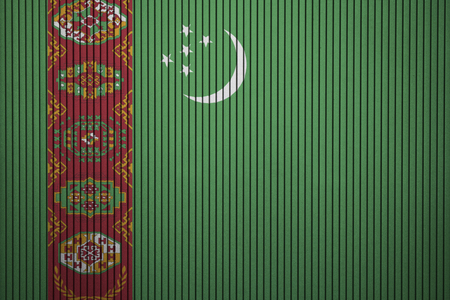 Painted national flag of Turkmenistan on a concrete wall
