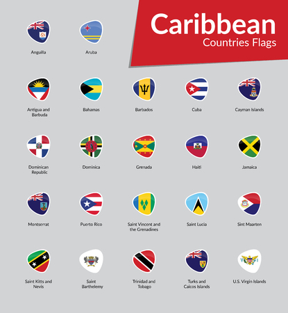 Caribbean Continent countries flags icon