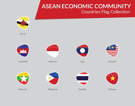 AEC Countries flags icon collection Ilustração Vetorial