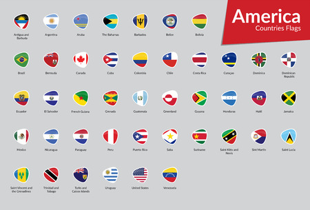 American Continent countries flags icon collection