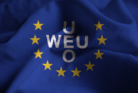 Ruffled Flag of European Union Blowing in Wind
