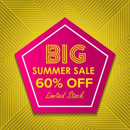 Summer sale Offer 60% Off template design, Summer sale banner template, Promo design template for your seasonal promotion. Illustration