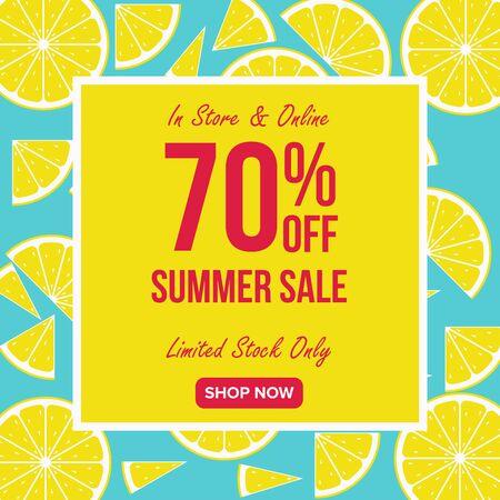 Summer sale Offer 70% Off template design, Summer sale banner template, Promo design template for your seasonal promotion. Ilustração