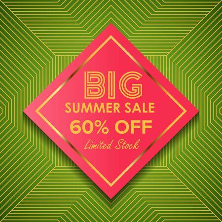Summer sale Offer 60% Off template design, Summer sale banner template, Promo design template for your seasonal promotion. Ilustração