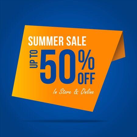 Summer sale 50% offer label sticker, sale discount price tag, label design for your discount campaign promotion in several occasion season sales Ilustração