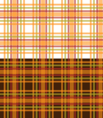 Orange and green plaid seamless background, repeating pattern Vector