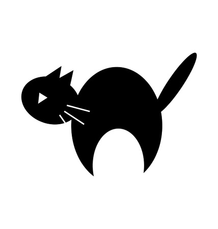 Cute Halloween black cat silhouette clipart