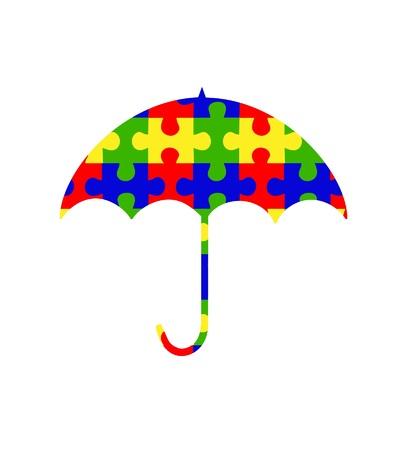 asperger: Colorful Autism umbrella clip-art  Illustration