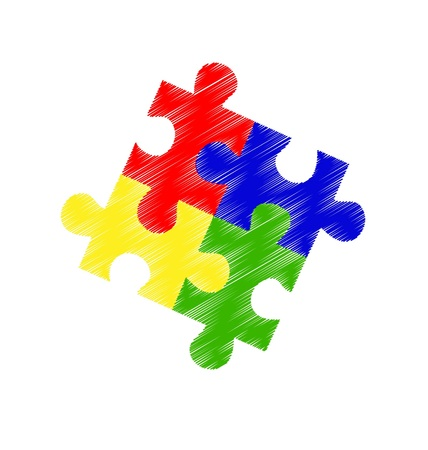 Scribbled Autism puzzle pieces on an angle Illustration