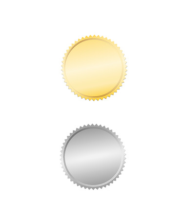 Gold and silver foil seal or badge Vector