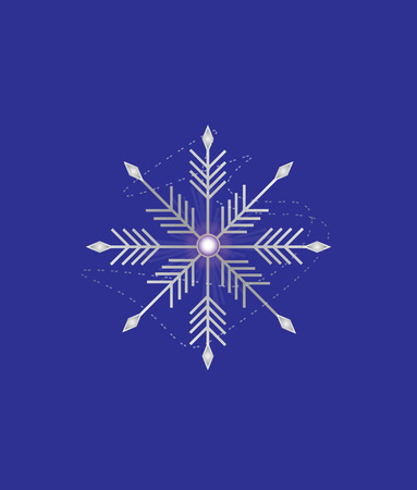 Silver snowflake on blue background