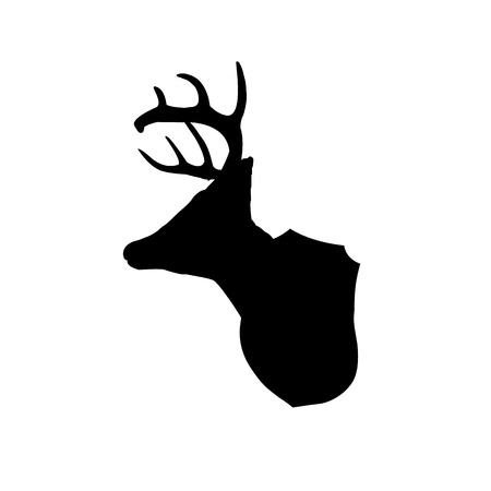 whitetail deer: Mounted deer head silhouette clip art Illustration