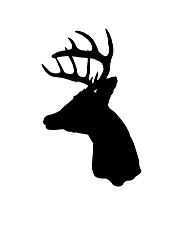 taxidermy: Black silhouette of a whitetail deer clip art