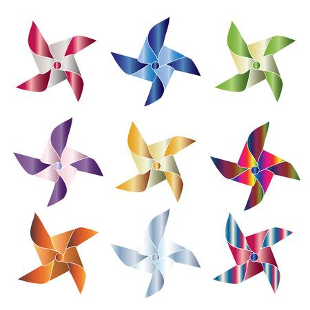 Set of 9 shiny pinwheels Stock Vector - 32337728