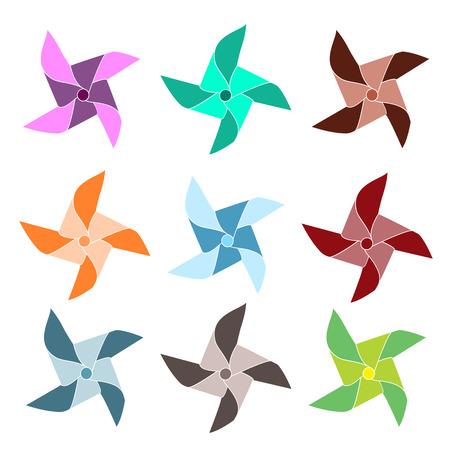 Set of 9 colorful pinwheels