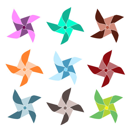 Set of 9 colorful pinwheels Stock Vector - 32337733