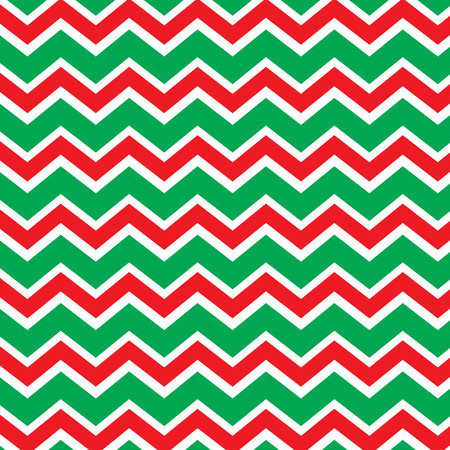 Seamless repeating chevron zig zag background in Christmas holiday colors red and green Vector