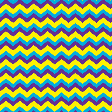 Seamless repeating chevron zig zag background pattern in purple, blue and yellow
