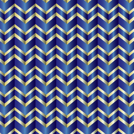 Shiny blue and gold repeating zig zag pattern Illustration