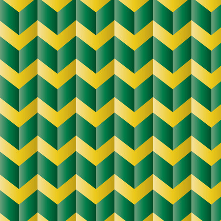Repeating chevron zigzag in green and yellow