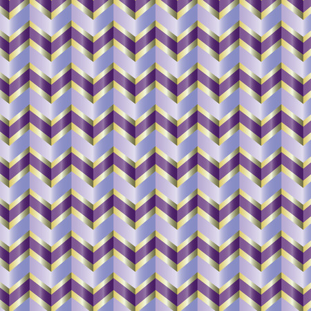 Seamless repeating chevron zig zag in purple and gold ribbon Illustration