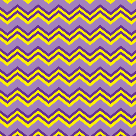 Seamless repeating zig zag background in purple and yellow Illustration