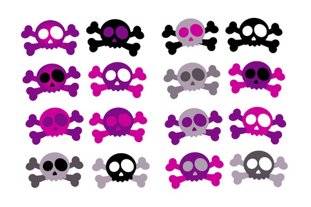Set of 16 Girly Skull and Crossbones