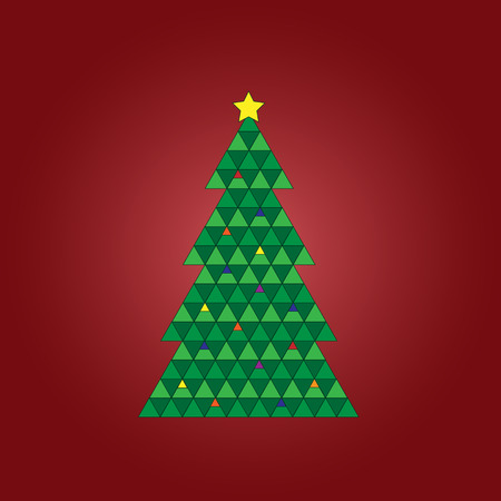 Geometric Christmas tree on a red background Stock Vector - 32963996