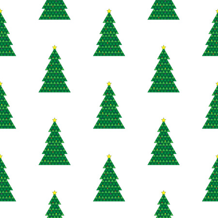 Geometric Christmas tree repeating background pattern